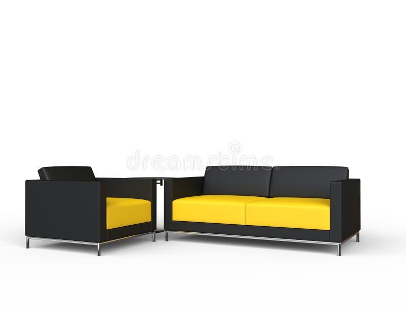 Sofa And Armchair Set nero e giallo illustrazione di stock