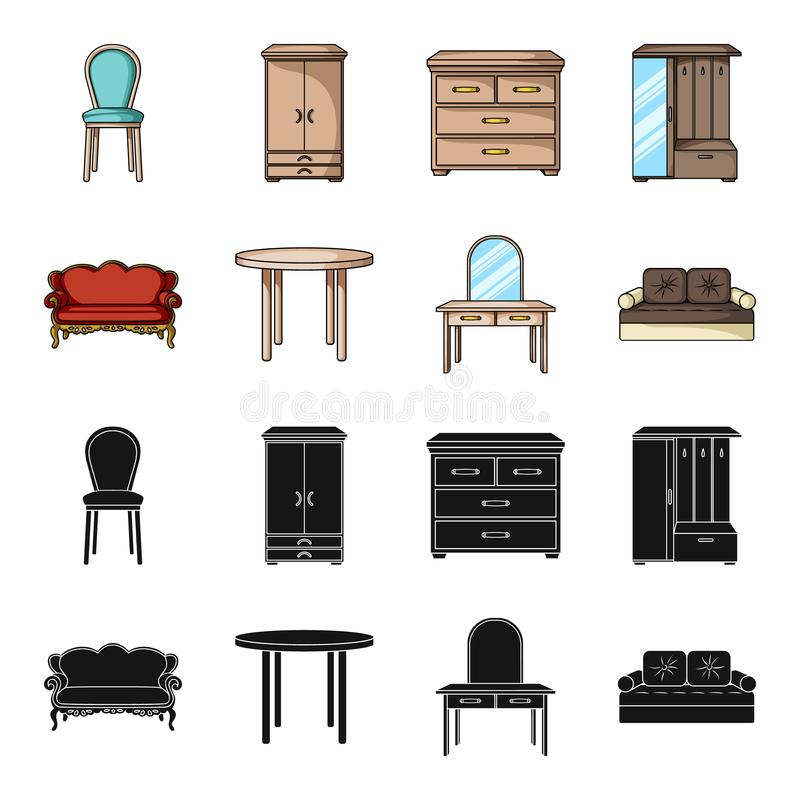 Sofa, armchair, table, mirror .Furniture and home interiorset collection icons in black,cartoon style vector symbol. Stock illustration royalty free illustration