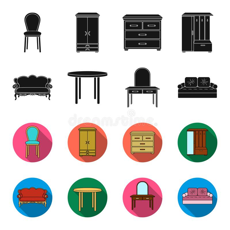 Sofa, armchair, table, mirror .Furniture and home interiorset collection icons in black,flet style vector symbol stock. Illustration royalty free illustration