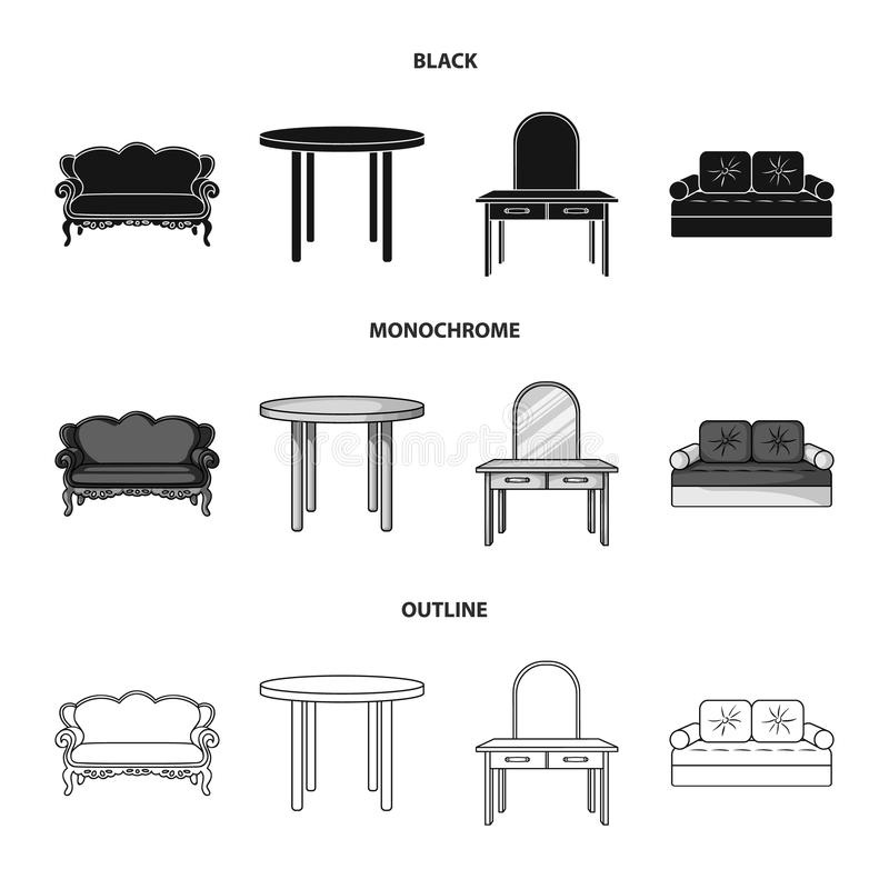 Sofa, armchair, table, mirror .Furniture and home interiorset collection icons in black,monochrome,outline style vector. Symbol stock illustration stock illustration