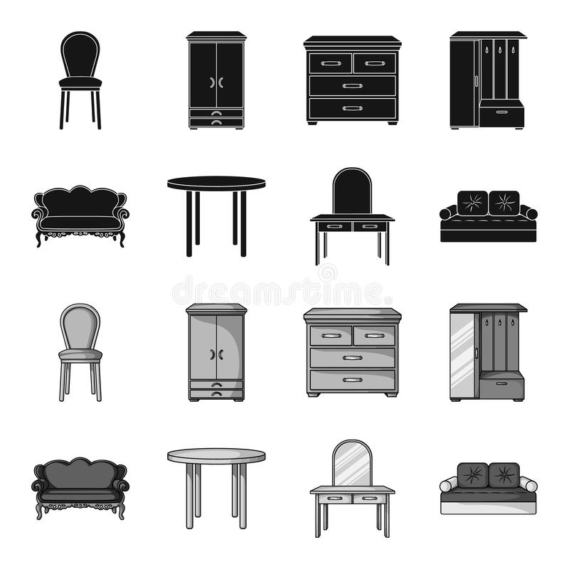 Sofa, armchair, table, mirror .Furniture and home interiorset collection icons in black,monochrome style vector symbol. Stock illustration stock illustration