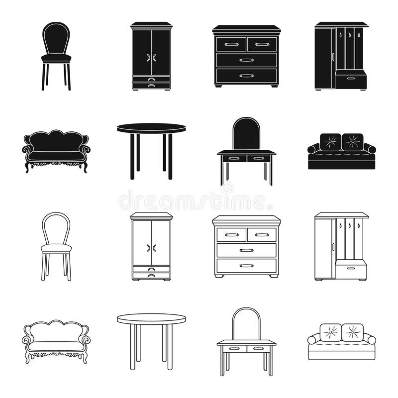 Sofa, armchair, table, mirror .Furniture and home interiorset collection icons in black,outline style vector symbol. Stock illustration royalty free illustration