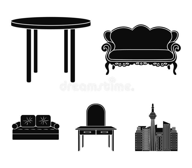 Sofa, armchair, table, mirror .Furniture and home interiorset collection icons in black style vector symbol stock. Illustration stock illustration