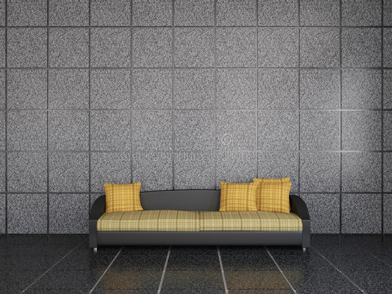 Sofa avec des oreillers illustration libre de droits