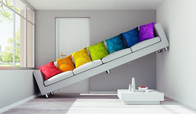 Sofa avec des oreillers dans une salle très petite illustration libre de droits