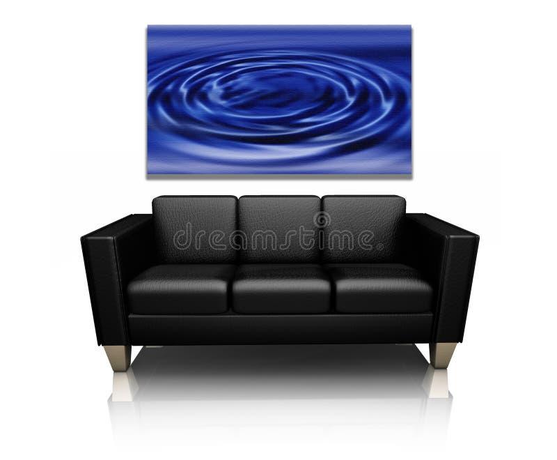 Sofa avec l'art de toile illustration stock