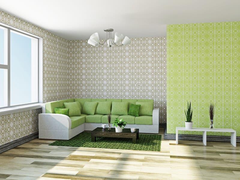 Sofa avec les oreillers verts illustration libre de droits