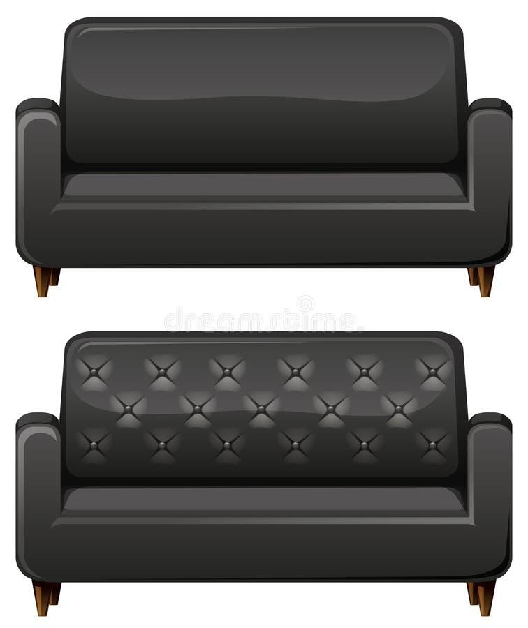 Sofa with black leather. Illustration royalty free illustration