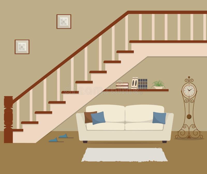 Sofa blanc avec des oreillers, situés sous les escaliers illustration de vecteur