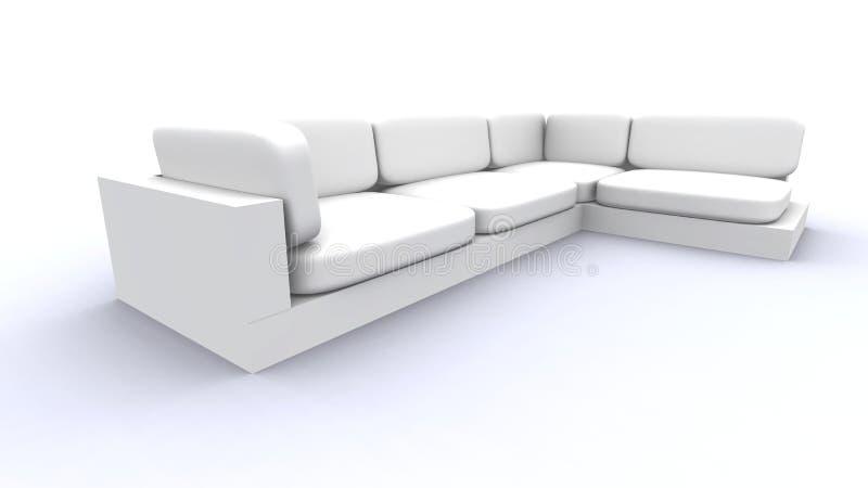 Sofa blanc - grand-angulaire illustration libre de droits