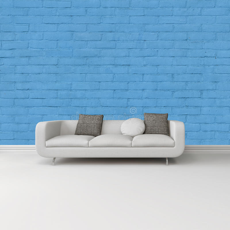 sofa blanc moderne contre un mur bleu lumineux. Black Bedroom Furniture Sets. Home Design Ideas