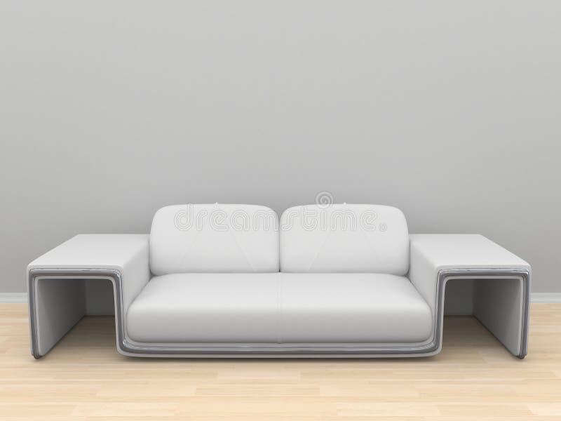 sofa blanc sur la pièce vide avec le parquet en bois illustration libre de droits