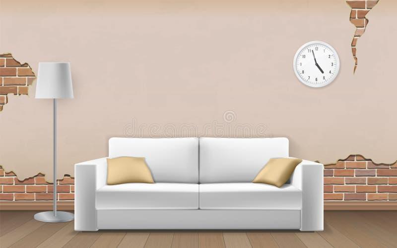 Sofa blanc sur le vieux fond de mur illustration de vecteur