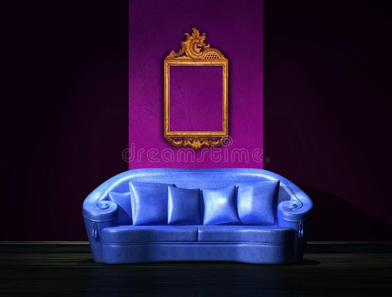 Sofa bleu avec la trame antique sur le mur photos libres de droits