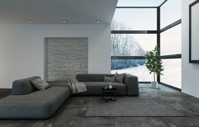 Sofa bleu-foncé modulaire dans le salon avec des fenêtres illustration libre de droits