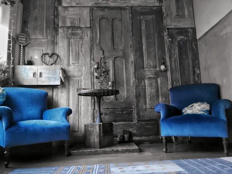 Sofa bleu photographie stock