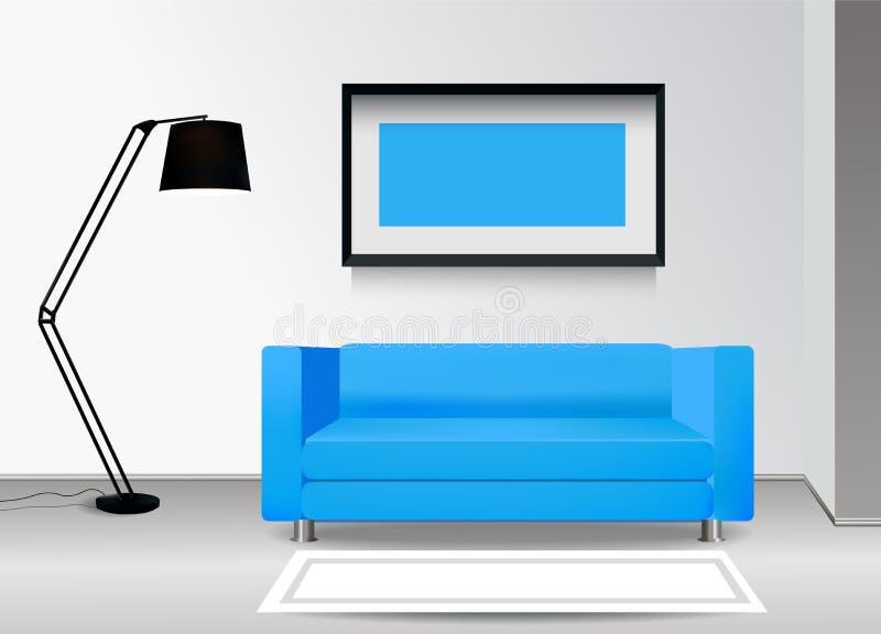 Sofa bleu réaliste avec le lampadaire, le tapis et le photoframe sur le mur Illustration intérieure Concept de construction de me illustration stock