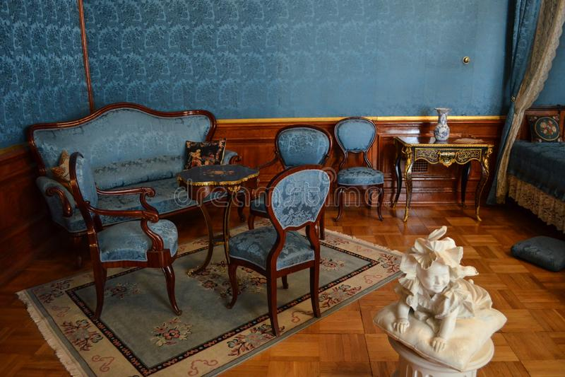 Saint Petersburg, Russia - August 11, 2012 - Interior of antique bedroom royalty free stock photo