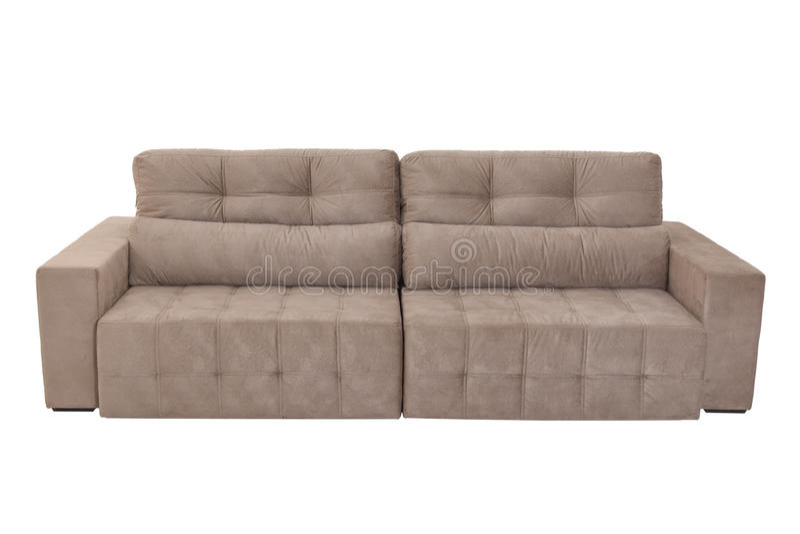 Sofa brun confortable de trois sièges photographie stock libre de droits