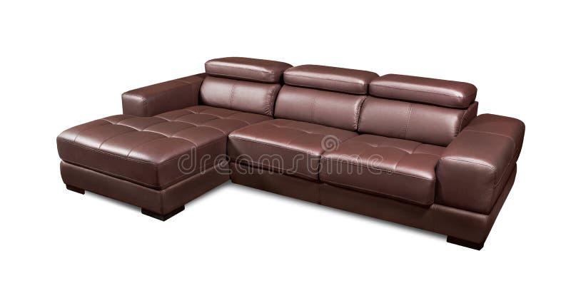 Sofa brun faisant le coin en cuir de luxe d'isolement sur le fond blanc photographie stock libre de droits
