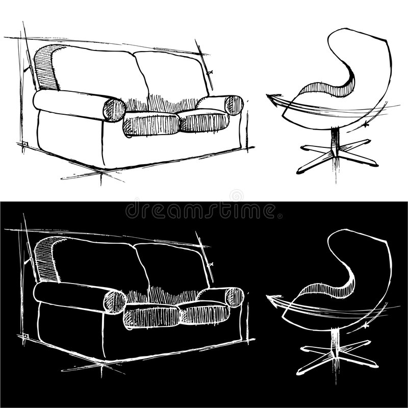 Sofa and chair drawings stock illustration