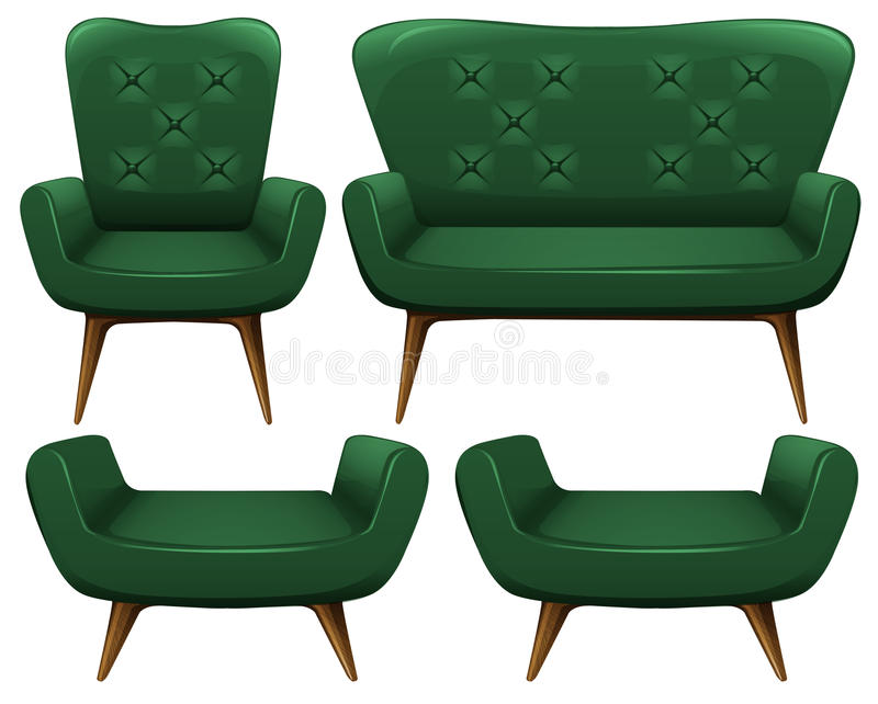 Sofa and chair in green color. Illustration royalty free illustration