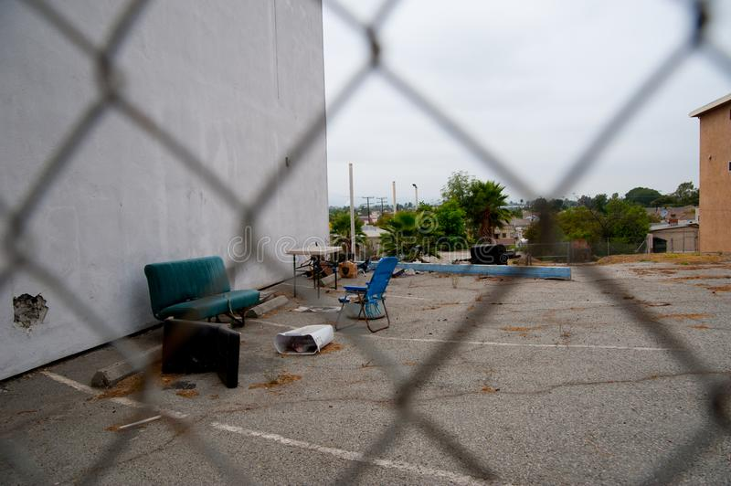 Sofa and chair for hanging out on the street of Los Angels, America. In California, there is still oil resources from the undergro stock photos