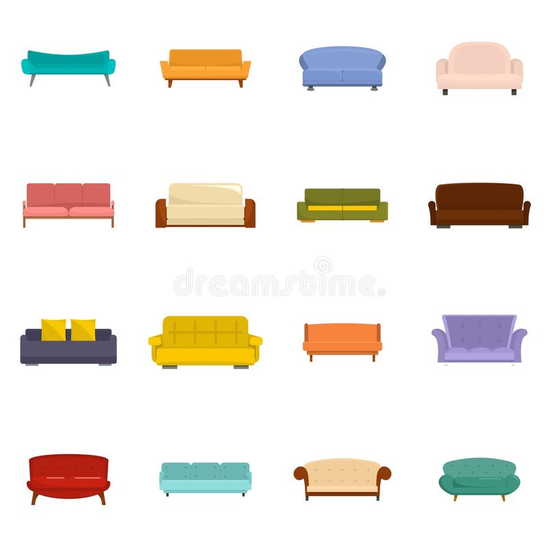 Sofa chair room couch icons set vector isolated royalty free illustration