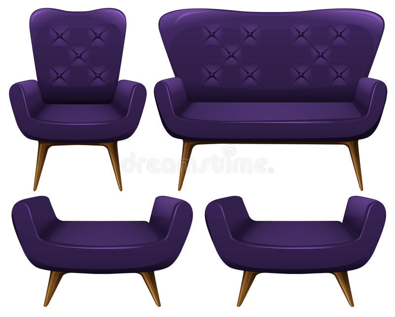 Sofa and chairs in purple. Illustration royalty free illustration