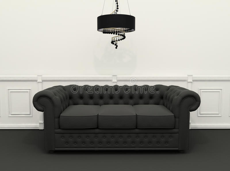 Sofa with chandelier in classic interior. Black Sofa with chandelier in black and white classic interior. 3d render. Chester sofa royalty free illustration