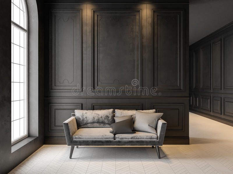 Sofa in classic black interior. 3D render mock up. royalty free stock image