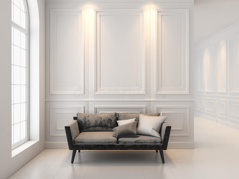 Sofa in classic white interior. 3D render interior mock up. Black sofa in classic white interior. 3D render interior mock up royalty free stock photo