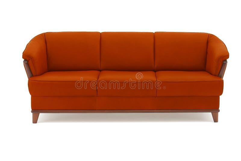 Sofa classique rouge de cuir véritable image libre de droits