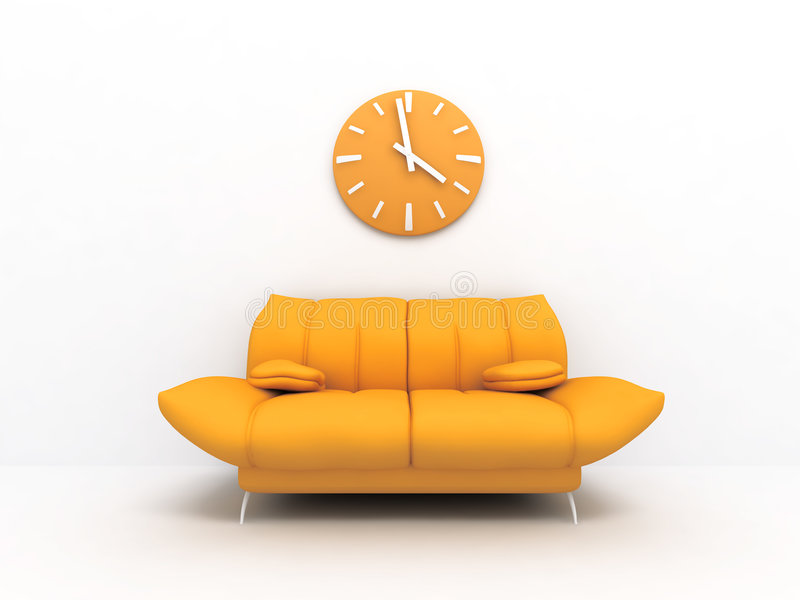 Sofa and clock. Orange sofa and clock in modern interior of a light living room vector illustration