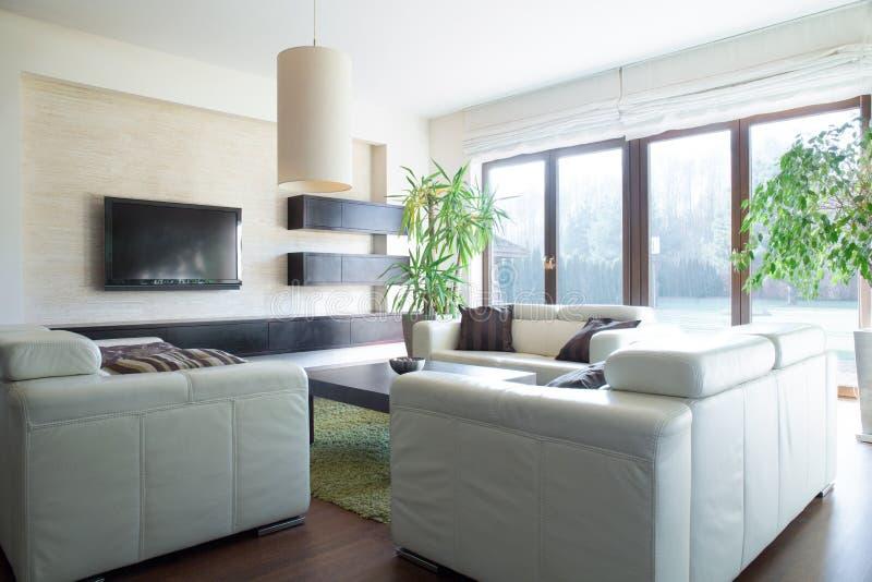 Sofa confortable dans le salon photos stock