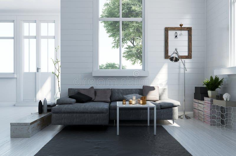 Sofa confortable dans un intérieur moderne de salon illustration libre de droits