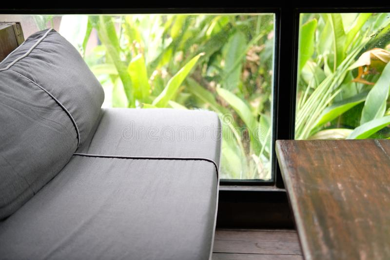 Sofa couch in living room near garden window. Blue sofa couch in living room near garden window stock image