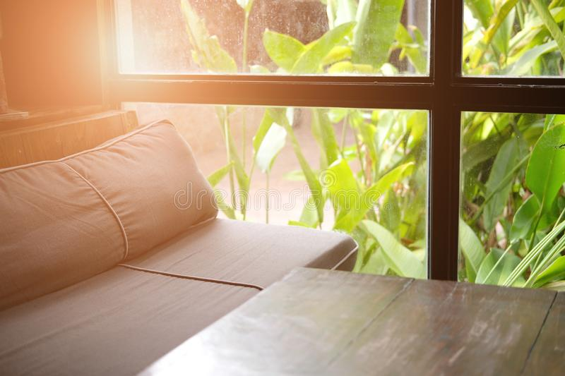 Sofa couch in living room near garden window. Blue sofa couch in living room near garden window royalty free stock photography
