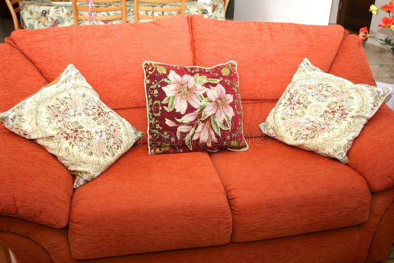 Sofa and cushions stock image