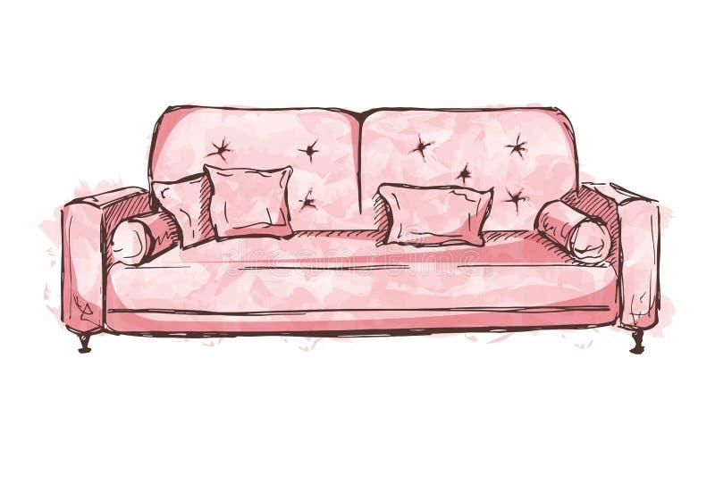 Sofa d'isolement sur le fond blanc Illustration de vecteur dans un style de croquis illustration stock