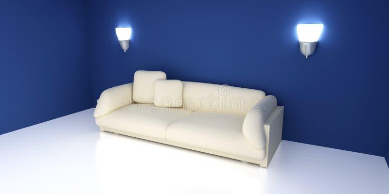 Sofa dans une salle bleue illustration de vecteur