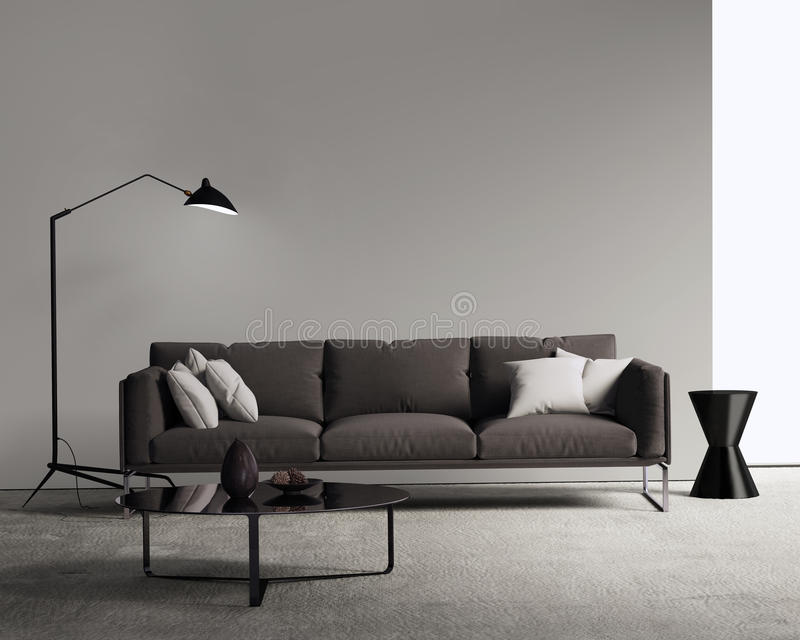 Sofa de Brown dans un salon contemporain moderne photographie stock