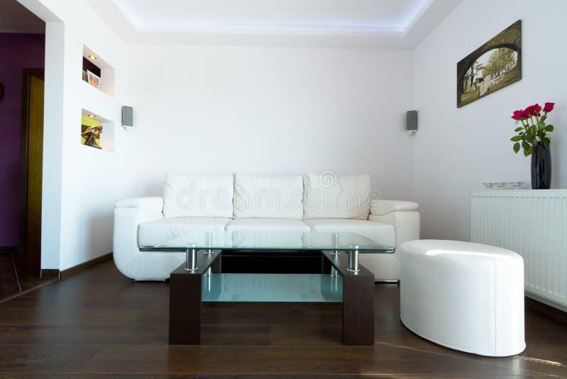 Sofa de cuir blanc dans la salle de séjour photographie stock libre de droits