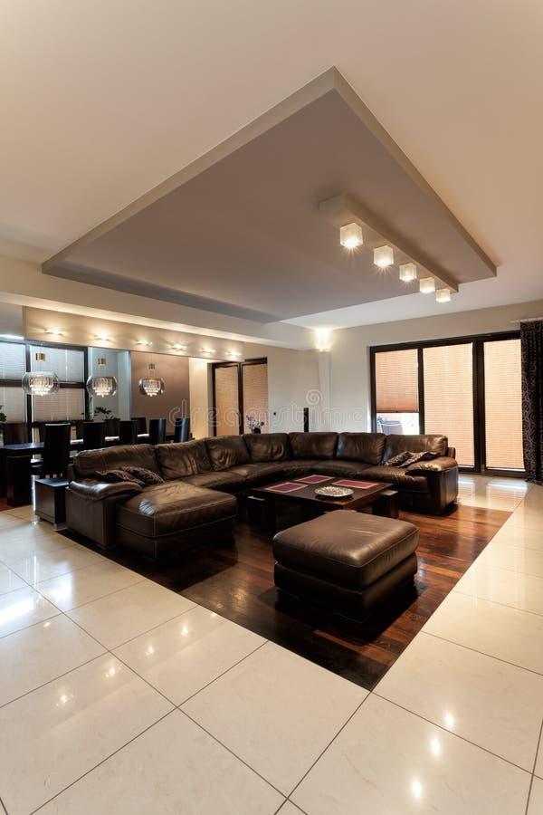 Sofa de cuir de Brown image stock
