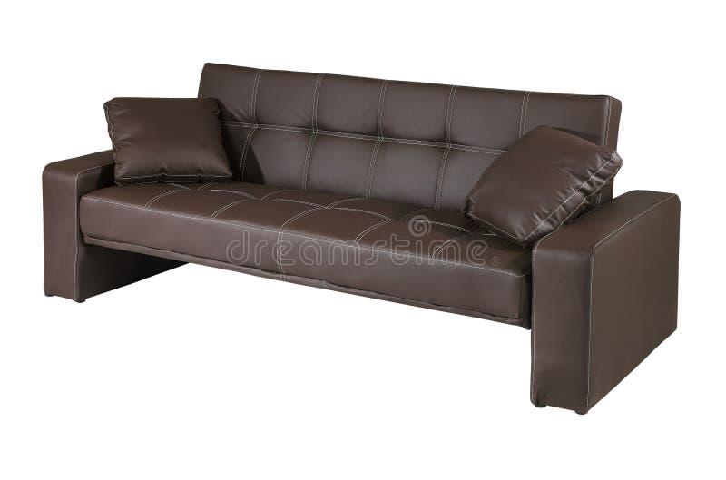 Sofa de cuir de Brown d'isolement sur le fond blanc image stock