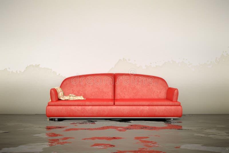 Sofa de dommages de l'eau illustration stock