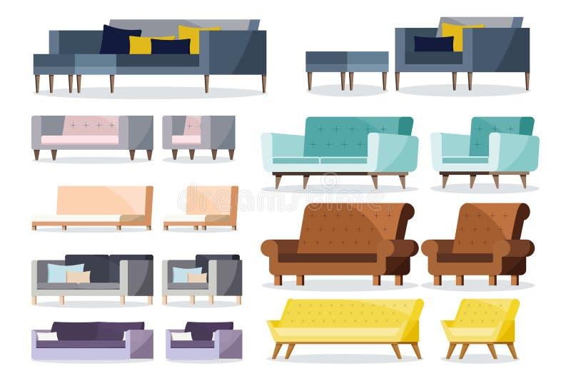 Sofa de forme différente colorée et fauteuils mous et en cuir avec l'ensemble d'icône de coussin illustration libre de droits