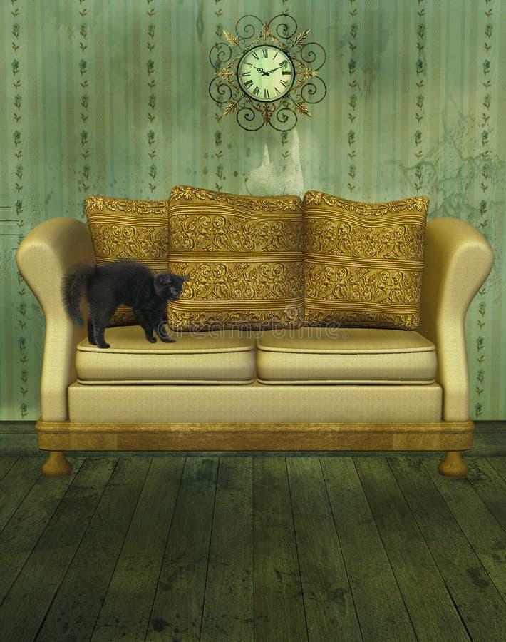 Sofa de luxe avec le chat illustration de vecteur