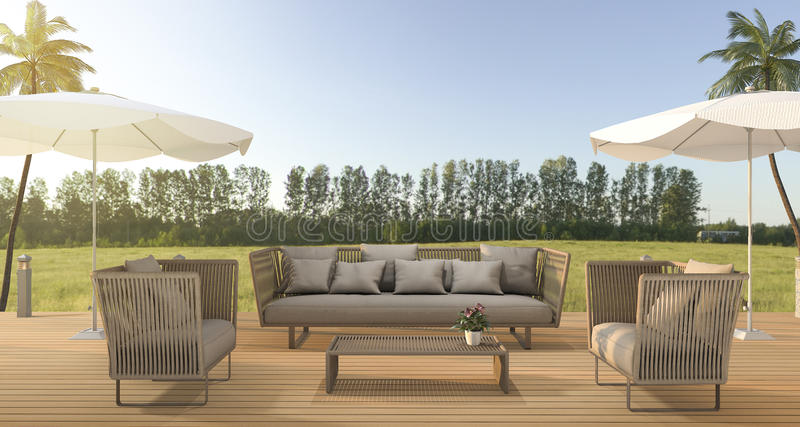 Download sofa de plage de vintage du rendu 3d sur la terrasse en bois près de