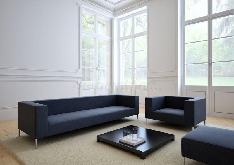 Sofa de tissu dans un salon moderne 3d photos stock